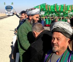Фото: REUTERS/Marat Gurt Церемония открытия отрезка международной железной дороги «Атамырат-Имамназар (Туркменистан) — Акина (Афганистан)»