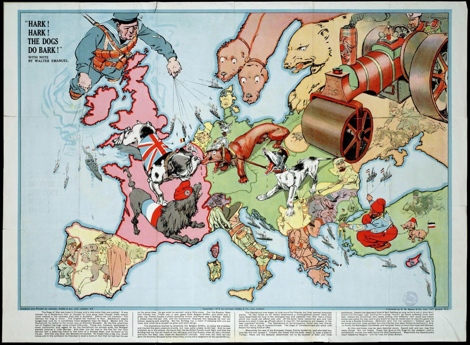 Карта первой мировой войны 1914